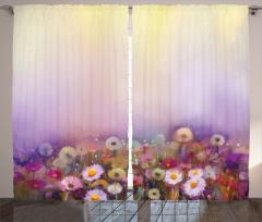 Sulu Boya Çiçekler Fon Perde Mor Fonlu Dekoratif
