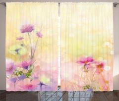 Pembe Çiçek Desenli Fon Perde Romantik Sarı Fonlu