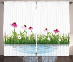 Pembe Beyaz Çiçekler Fon Perde Dekoratif Çeyizlik
