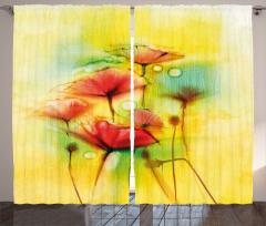 Sarı Çiçekler Desenli Fon Perde Gelincikler Sarı