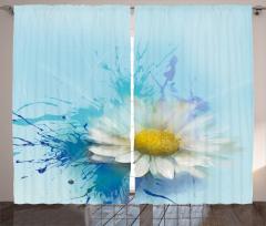 Papatya Desenli Şık Fon Perde Çiçekli Mavi Beyaz Sarı