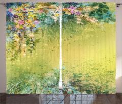 Pastel Çiçek Bahçesi Fon Perde Pastel