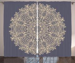 Sarı Mandala Çiçeği Fon Perde Dekoratif Şık