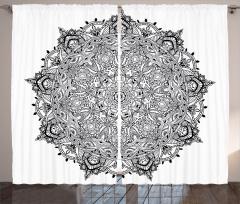 Mandala Desenli Fon Perde Siyah Beyaz Çiçek Şık