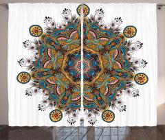 Çiçek Desenli Fon Perde Mandala Turuncu Mavi Şık