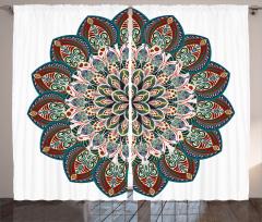 Çiçek Desenli Fon Perde Etnik Şık Tasarım Mandala