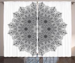 Mandala Desenli Fon Perde Siyah Beyaz Şık Tasarım