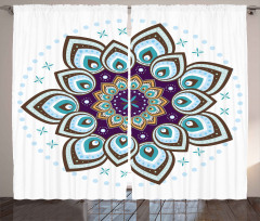 Çiçek Desenli Fon Perde Mavi Şık Tasarım Trend