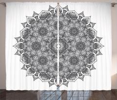 Çiçek Desenli Fon Perde Mandala Şık Tasarım Etnik