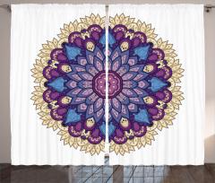 Mor Çiçek Desenli Fon Perde Mandala Şık Tasarım