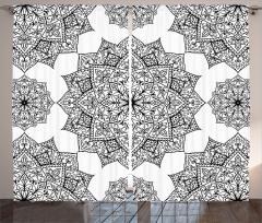 Çiçek Desenli Fon Perde Siyah Beyaz Şık Tasarım