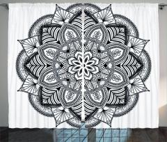 Etnik Mandala Motifi Fon Perde Siyah Beyaz