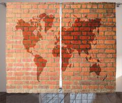 Dünya Haritası Desenli Fon Perde Tuğla Efektli