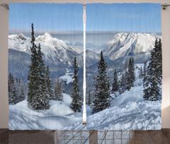 Karlı Çamlık ve Dağlar Fon Perde Dekoratif