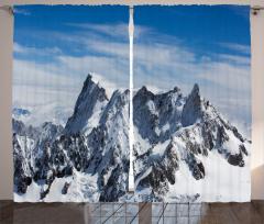 Gökyüzü ve Karlı Dağ Fon Perde Beyaz Mavi