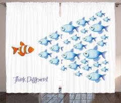 Balık Sürüsü Fon Perde Turuncu Mavi Balık