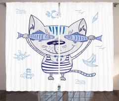 Sevimli Kedi ve Balık Fon Perde Denizci Kedi ve Balıklar