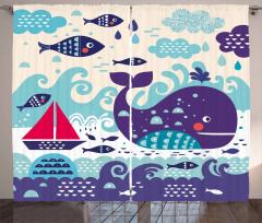 Yelkenli ve Balık Fon Perde Balina Desenli Lacivert