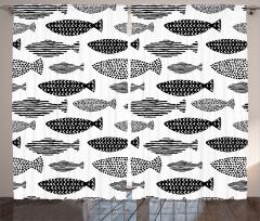 Siyah Beyaz Balık Fon Perde Balık Desenleri Modern Sanat