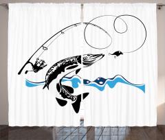 Balık ve Olta Temalı Fon Perde Siyah Beyaz Mavi