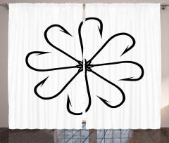Çiçek Olta Desenli Fon Perde Siyah Beyaz Balık Şık