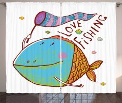 Balıkçılık Aşkı Temalı Fon Perde Mavi Turuncu Mor