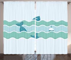 Balık ve Şamandıra Fon Perde Mavi Deniz