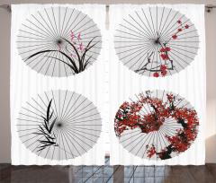 Çiçekli Şemsiye Desenli Fon Perde Şık Tasarım