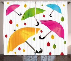 Rengarenk Şemsiye Fon Perde Yaprak Beyaz