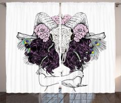 Mor Saçlı Kadın Desenli Fon Perde Kemik Çiçek