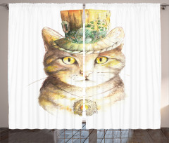 Şapkalı Kedi Desenli Fon Perde Sarı Şık Tasarım
