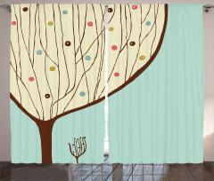 Ağaç Desenli Fon Perde Mavi Bej Kahverengi Şık