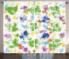 Geometrik Desenli Fon Perde Şık Tasarım Yeşil