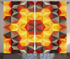 Geometrik Desenli Fon Perde Sarı Kırmızı Altıgen
