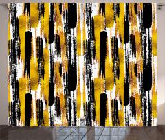 Fırça Darbesi Desenli Fon Perde Altın Siyah Şık
