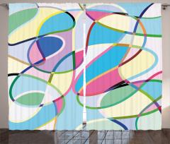 Rengarenk Desenli Fon Perde Geometrik Şık Tasarım