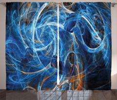 Duvar Kağıdı Desenli Fon Perde Fraktal Mavi Şık