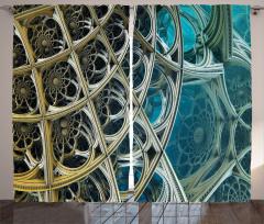 Fraktal Tasarımlı Fon Perde Mavi Sarı Şık Tasarım