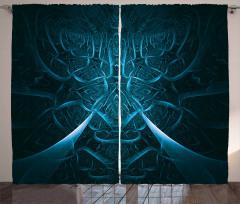 3D Etkili Fon Perde Soyut Fraktal Tasarım Lacivert