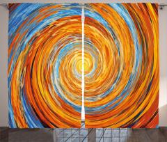 Spiral Fraktal Desenli Fon Perde Turuncu Mavi Şık