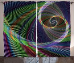 Spiral Fraktal Desenli Fon Perde Mor Yeşil Şık