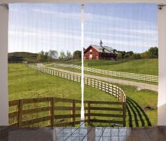Çiftlik Manzaralı Fon Perde Yeşil Mavi Gökyüzü