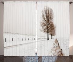 Karlı Orman Temalı Fon Perde Beyaz Ağaç Gökyüzü