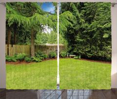 Doğada Huzur Temalı Fon Perde Yeşil Bahçe Ağaç