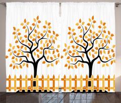 Turuncu Ağaç Desenli Fon Perde Şık Tasarım Yaprak