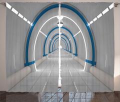 3D Etkili Fon Perde Uzay İstasyonu Temalı Gri