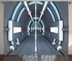 3D Etkili Fon Perde Gri Mavi Uzay Gemisi Desenli