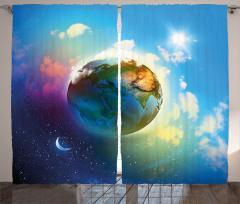 Dünya ve Ay Temalı Fon Perde Yıldız Mavi Bulut