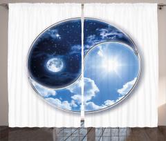 Ay ve Güneş Temalı Fon Perde Yin Yang Mavi Yıldız