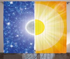 Gece ve Gündüz Temalı Fon Perde Güneş Ay Mavi Sarı